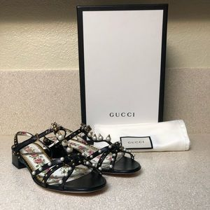 Gucci Embellished Leather Sandal Black Sz 37 / 7